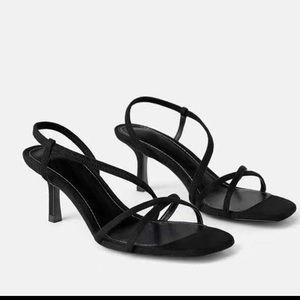 Zara black suede strappy sandals